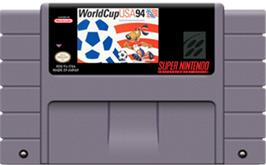Cartridge artwork for World Cup USA '94 on the Nintendo SNES.