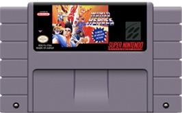 Cartridge artwork for World Heroes on the Nintendo SNES.