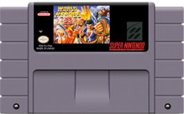 Cartridge artwork for World Heroes 2 on the Nintendo SNES.