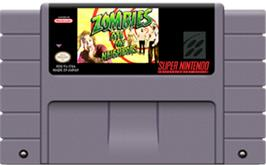 Cartridge artwork for Zombies Ate My Neighbors on the Nintendo SNES.