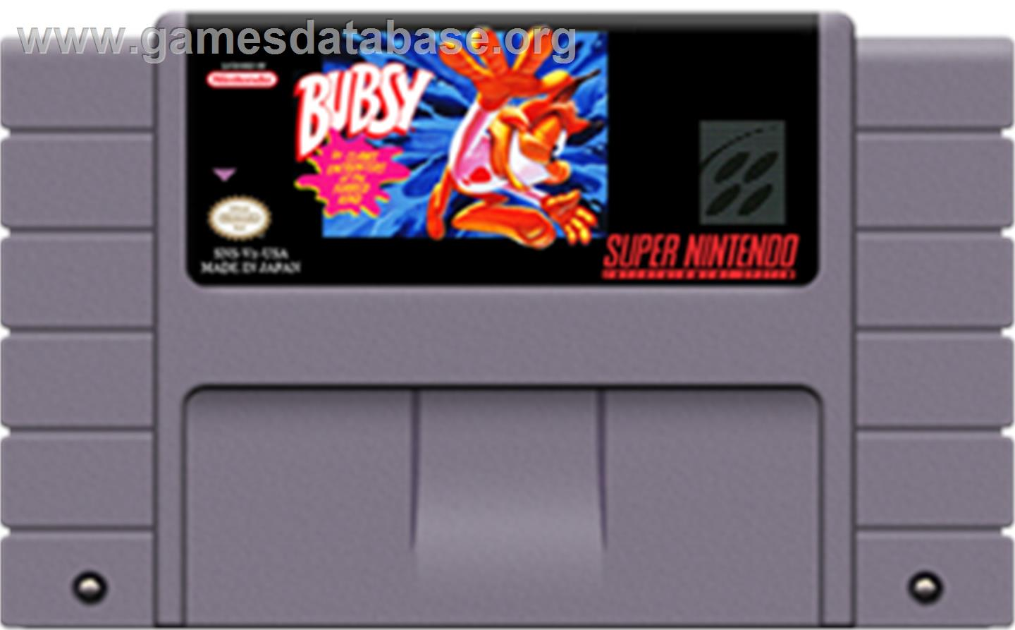 Bubsy in: Claws Encounters of the Furred Kind - Nintendo SNES - Artwork - Cartridge