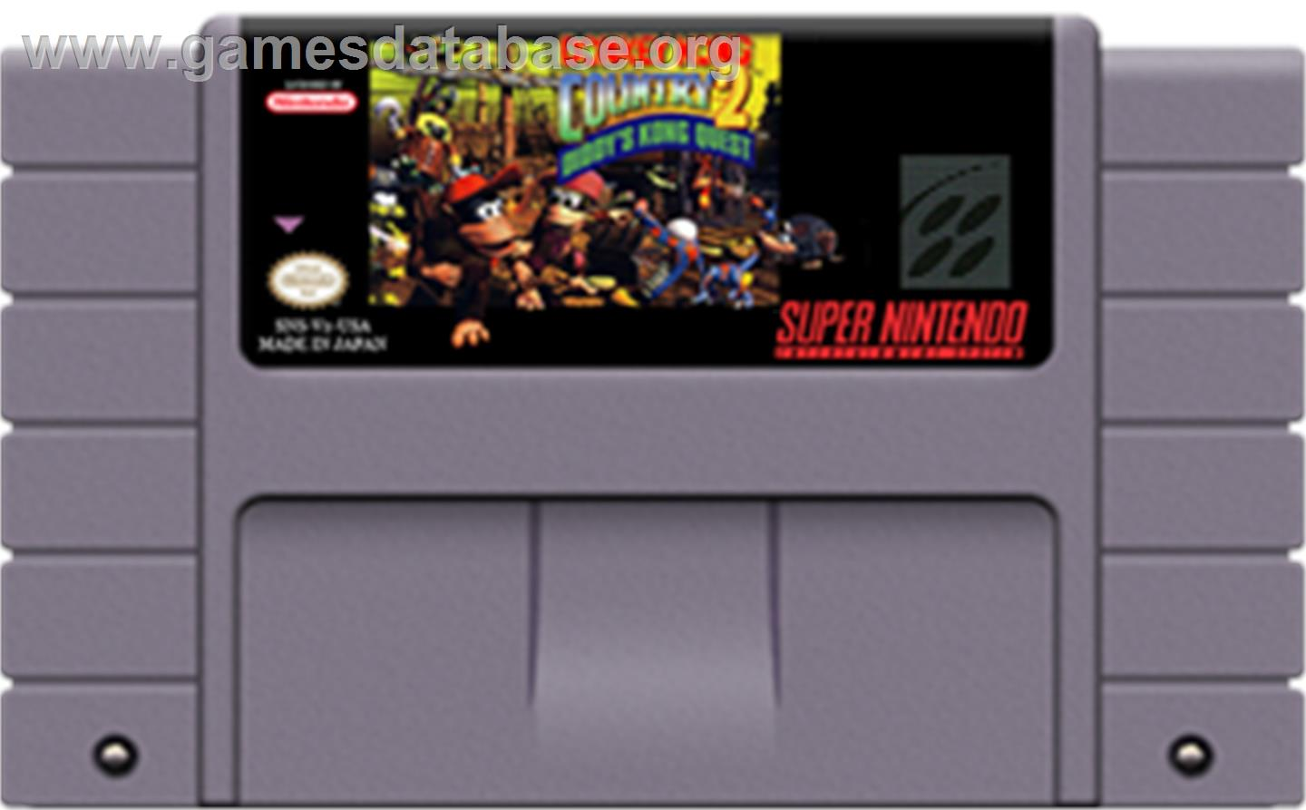 Donkey Kong Country 2: Diddy's Kong Quest - Nintendo SNES - Artwork - Cartridge