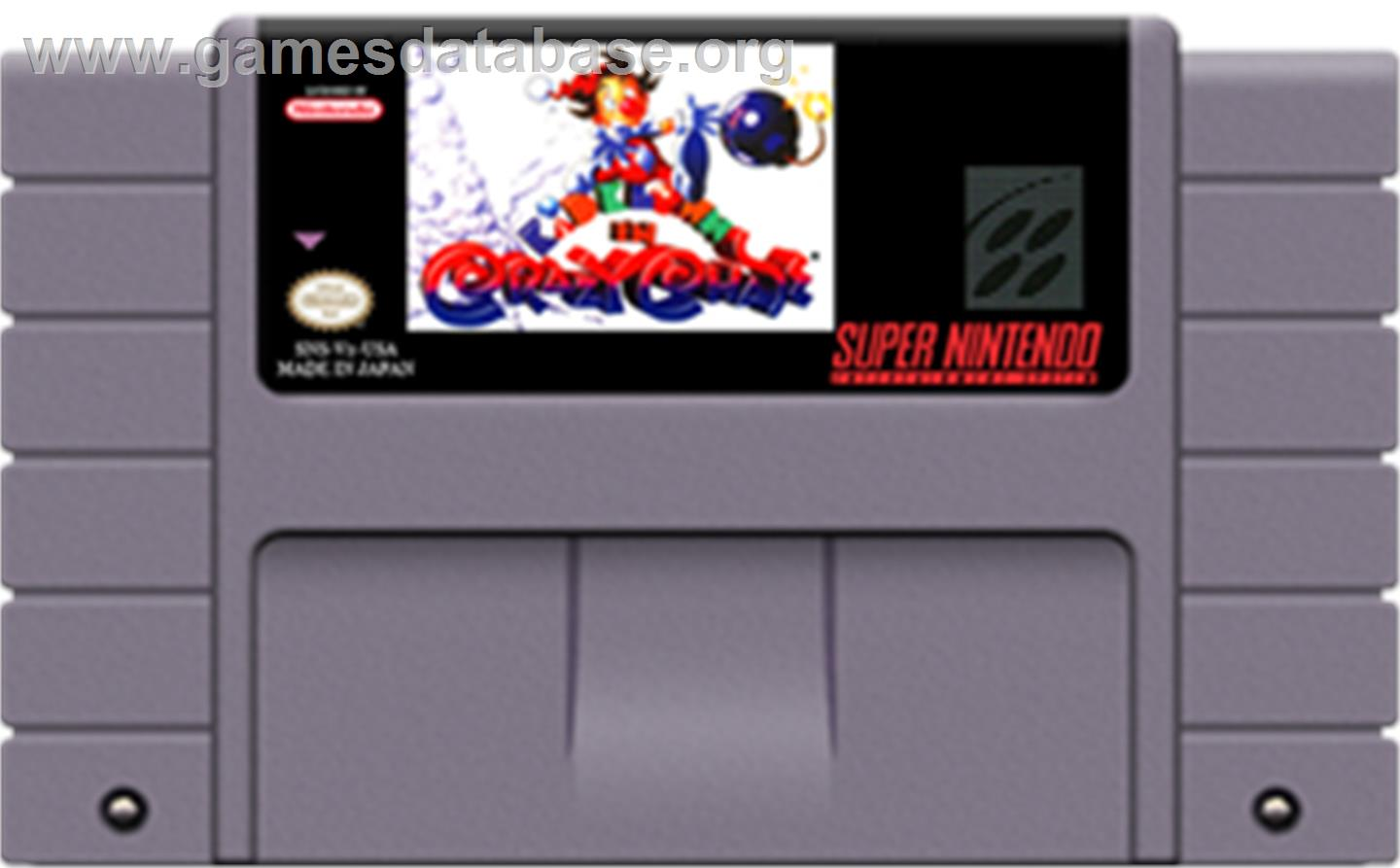 Cartridge artwork for Kid Klown in Crazy Chase on the Nintendo SNES.