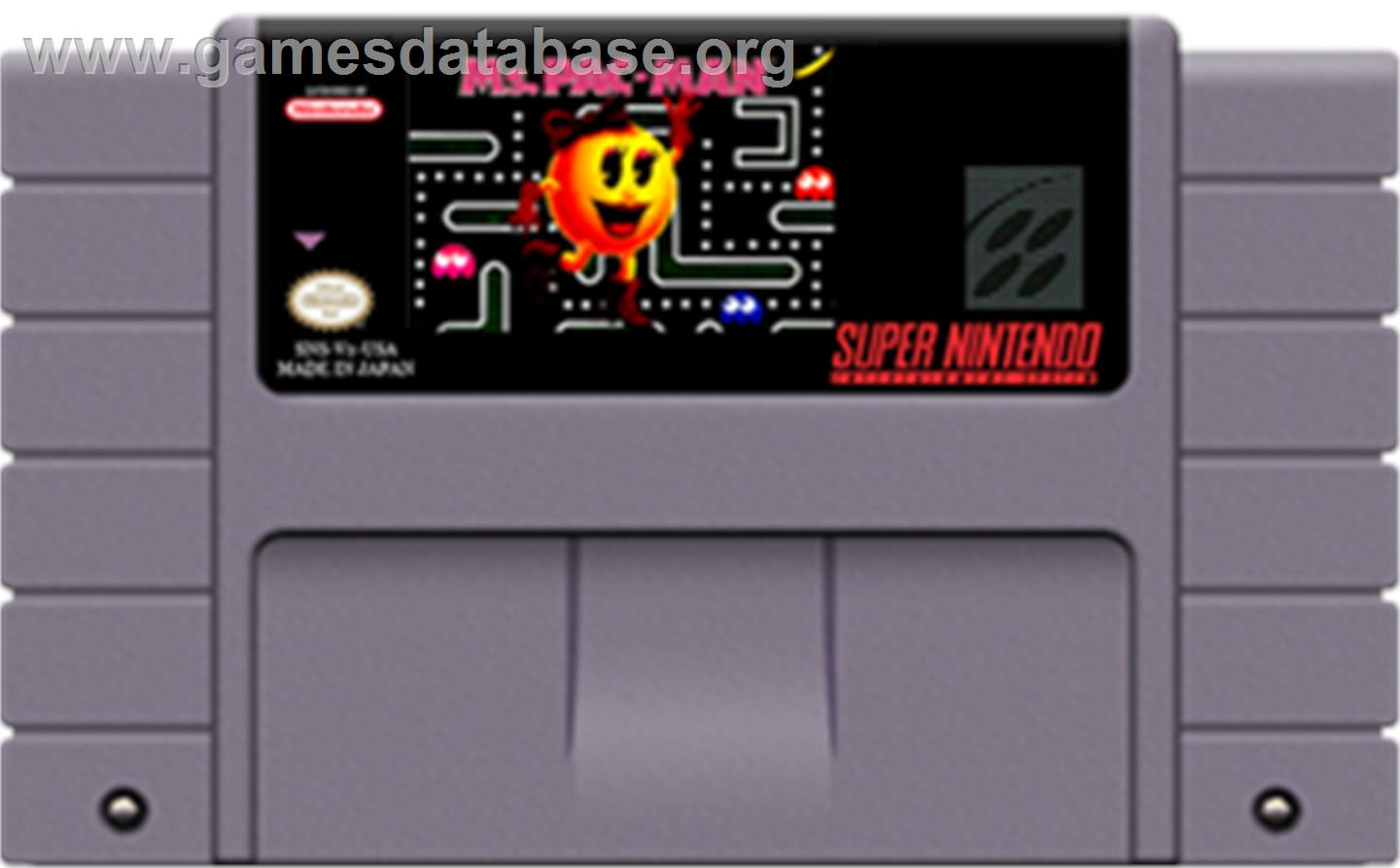 Ms. Pac-Man - Nintendo SNES - Artwork - Cartridge