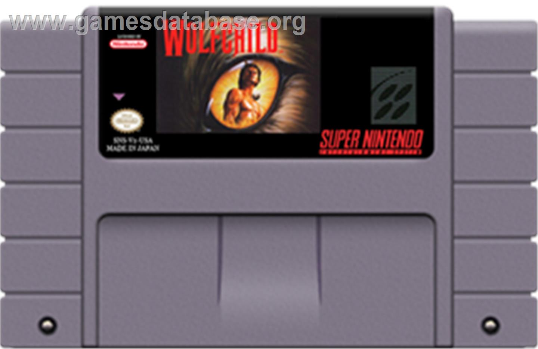 Cartridge artwork for Wolfchild on the Nintendo SNES.