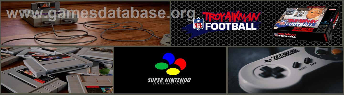 Troy Aikman NFL Football - Nintendo SNES - Artwork - Marquee