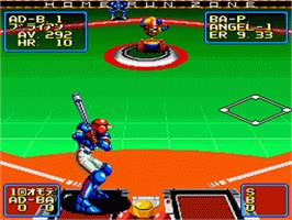 In game image of 2020 Super Baseball on the Nintendo SNES.