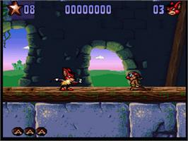 In game image of Aero the Acro-Bat 2 on the Nintendo SNES.