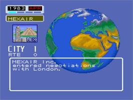 In game image of Aerobiz on the Nintendo SNES.