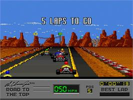 In game image of Al Unser Jr.'s Road to the Top on the Nintendo SNES.
