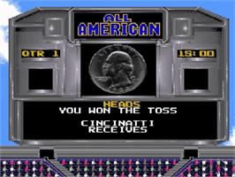 In game image of All-American Championship Football on the Nintendo SNES.