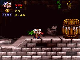 In game image of An American Tail: Fievel Goes West on the Nintendo SNES.