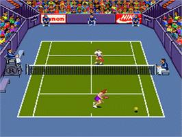 In game image of Andre Agassi Tennis on the Nintendo SNES.