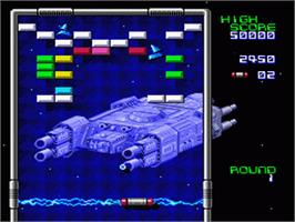 In game image of Arkanoid: Doh It Again on the Nintendo SNES.