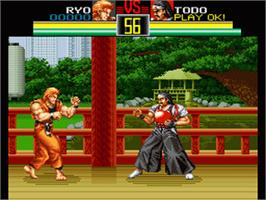 In game image of Art of Fighting on the Nintendo SNES.