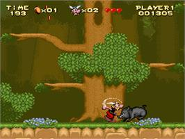In game image of Astérix on the Nintendo SNES.