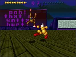 In game image of Ballz 3D on the Nintendo SNES.