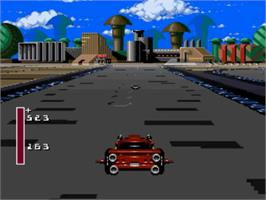 In game image of Battle Cars on the Nintendo SNES.