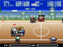 In game image of Battle Dodge Ball: Toukyuu Daigekitotsu! on the Nintendo SNES.