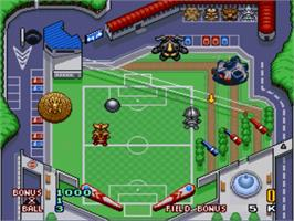 In game image of Battle Pinball on the Nintendo SNES.