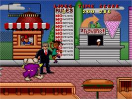In game image of Bebe's Kids on the Nintendo SNES.