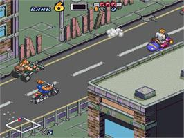 In game image of Biker Mice From Mars on the Nintendo SNES.