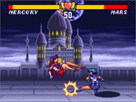 In game image of Bishoujo Senshi Sailor Moon S: Jougai Ranto!? Shuyaku Soudatsusen on the Nintendo SNES.