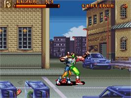In game image of Brawl Brothers: Rival Turf! 2 on the Nintendo SNES.