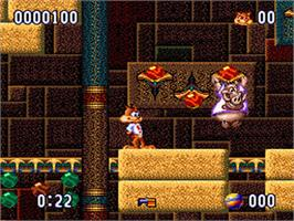 In game image of Bubsy II on the Nintendo SNES.