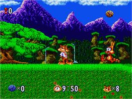 In game image of Bubsy in: Claws Encounters of the Furred Kind on the Nintendo SNES.