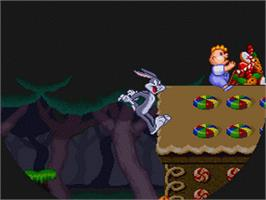 In game image of Bugs Bunny Rabbit Rampage on the Nintendo SNES.