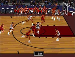 In game image of Bulls vs. Blazers and the NBA Playoffs on the Nintendo SNES.