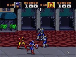 In game image of Captain America and the Avengers on the Nintendo SNES.