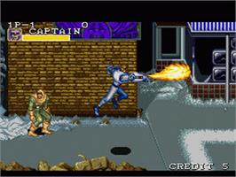 In game image of Captain Commando on the Nintendo SNES.