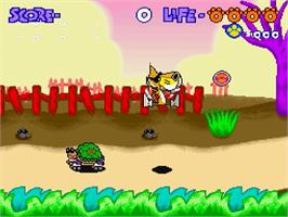 In game image of Chester Cheetah: Too Cool to Fool on the Nintendo SNES.
