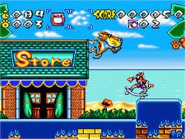 In game image of Chester Cheetah: Wild Wild Quest on the Nintendo SNES.