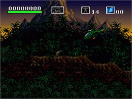 In game image of Choplifter III: Rescue Survive on the Nintendo SNES.