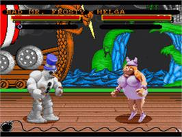 In game image of Clay Fighter on the Nintendo SNES.