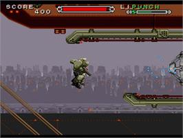 In game image of Cybernator on the Nintendo SNES.