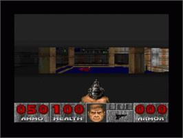 In game image of DOOM on the Nintendo SNES.