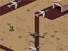 In game image of Desert Strike: Return to the Gulf on the Nintendo SNES.