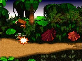 In game image of Donkey Kong Country on the Nintendo SNES.