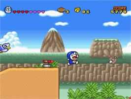 In game image of Doraemon 4: Nobita to Tsuki no Oukoku on the Nintendo SNES.