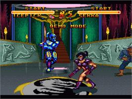 In game image of Double Dragon V: The Shadow Falls on the Nintendo SNES.