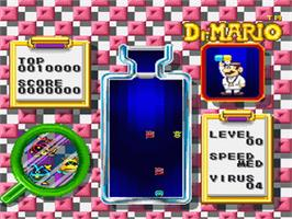 In game image of Dr. Mario on the Nintendo SNES.