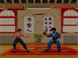 In game image of Dragon: The Bruce Lee Story on the Nintendo SNES.