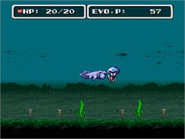 In game image of E. V. O.: Search for Eden on the Nintendo SNES.