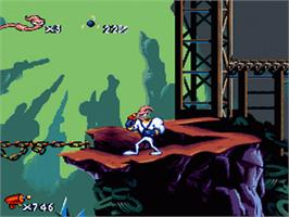 In game image of Earthworm Jim on the Nintendo SNES.