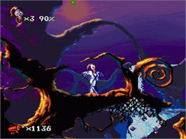 In game image of Earthworm Jim 2 on the Nintendo SNES.