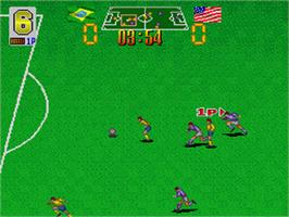 In game image of European Football Champ on the Nintendo SNES.
